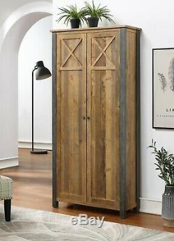 Reclaimed Industrial Bookcase Storage Cabinet Unit Steel Frame Urban Elegance