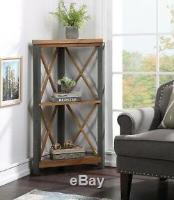 Reclaimed Industrial Corner Bookcase Small Display Steel Frame Urban Elegance