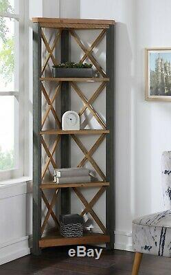 Reclaimed Industrial Corner Bookcase Tall Display Steel Frame Urban Elegance
