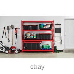 Red 4-Tier Heavy Duty Steel Garage Storage Shelving 77 in. W x 78 in. H x 24 in