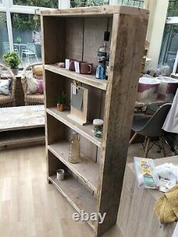 Rustic Reclaimed Industrial Solid Wood Handmade Bookcase Shelf Storage Shelved