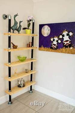 Rustic Shelf Handmade Rustic industrial shelving scaffold board bookcase 5 Tier