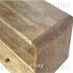 Rustic Solid Wood Console Table Curved Scandinavian Style Legs Handmade Side End