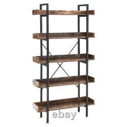 Rustic Wood 5 Tiers Floor Standing Shelf Storage Display Rack Edged Bookshelf UK