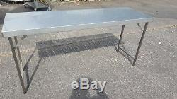 STAINLESS HEAVY DUTY FOLDING CATERING TABLE WITH UNDER-SHELF, NEW 1800 X 450mm