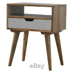 Scandinavian Style Solid Wood Bedside Table With Painted White Drawer & Shelf