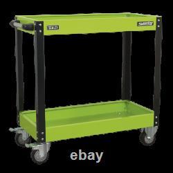 Sealey Workshop Trolley 2 Shelf Heavy Duty Green Tool Trolley Garage Car Storage