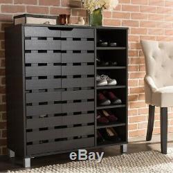 Shoe Cabinet Shelf Rack Drawer Sturdy Organizer Wood Frame Durable Heavy Duty