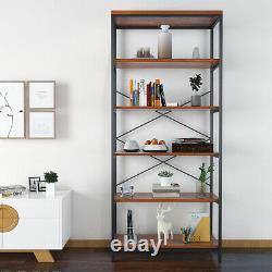 Solid Wood Storage Shelf 5-story Unit Wooden Bookcase Metal Frame Bookshelf UK