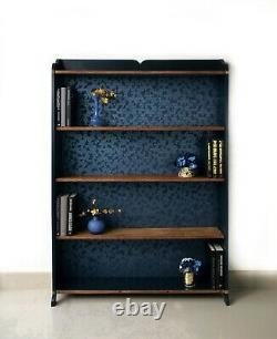 Solid oak and dark blue bookcase/display shelving unit