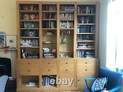 Solid wood and veneered ply library bookcase in excellent condition, mid colour