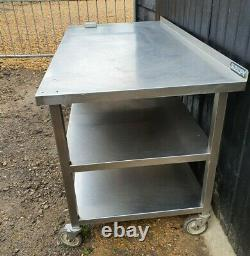 Stainless Steel Catering Kitchen Table 152 cm long CASTORS SHELVES HEAVY DUTY