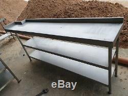 Stainless Steel Table Heavy Duty 2360 MM X 340 Slim Line Shelf Etc