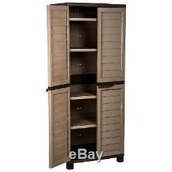 Starplast Plastic 4 Shelf Outdoor Garden Tools Utility Cabinet Box Mocca/Brown