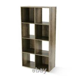 Storage Organizer Bookcase 8 Shelves Cube Home Office Display Bookshelf Rustic