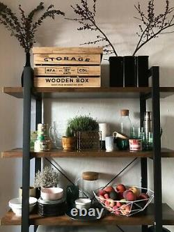 Tall Industrial Bookcase Heavy Duty Shelving Storage Unit Room Divider Rustic