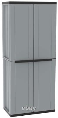 Tall Plastic Cupboard Storage Outdoor Garden 3 Shelves Utility Cabinet Box
