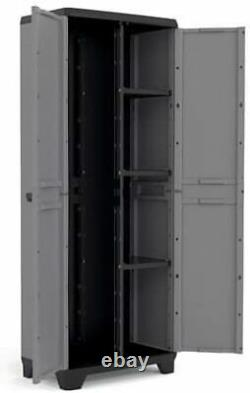 Tall Plastic Cupboard Storage Outdoor Garden Broom Shelves Utility Cabinet Box