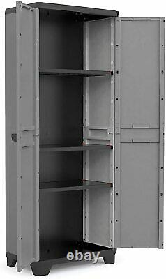 Tall Plastic Cupboard Storage Outdoor Garden Shelves Utility Cabinet Box New
