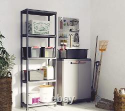 Tall Plastic Cupboard Storage Outdoor Garden Shelves Utility Cabinet Box UK N