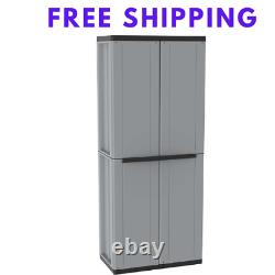 Tall Plastic Storage Cupboard Shelves Garden Outdoor Garage Tool Shed Box
