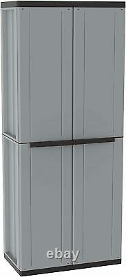 Tall Plastic Storage Cupboard Shelves Garden Outdoor Garage Tool Shed Box #UK