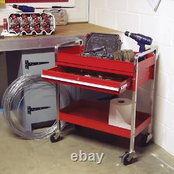Tool Storage Heavy Duty Sealey Garage Trolley Workshop 2 Tier Wheel Cart Shelf