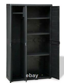 Toolmax Outdoor Garden Utility Plastic Storage 4, Shelves Unit Box Case Cupboard