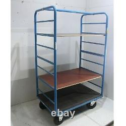 USED Heavy Duty Shelf Stock Industrial Truck Trolley with 2 x Ply Shelves