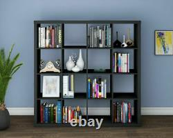 Unit Display 16 Cube Bookshelf Storage Bookcase Shelves Holder Home Office Black