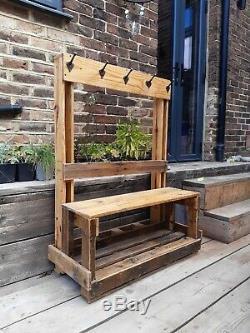 Upcycled wooden school coat rack 5 iron numbered coat hooks seat shoe shelf