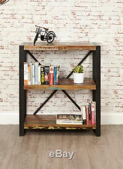 Urban Chic Reclaimed Wood 3 Shelf Bookcase Low Display Unit Steel Frame