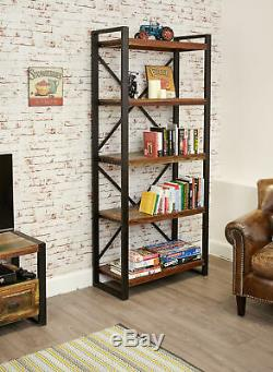 Urban Chic Reclaimed Wood 5 Shelf Bookcase Tall Large Display Unit Steel Frame