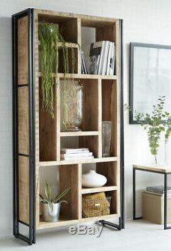 Urban Industrial Multi Shelf Bookcase Retro Rustic Solid Wood Metal Medium Oak