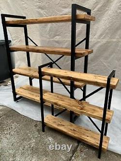 Very Large Handmade Bespoke Industrial Style Free Standing Shelving Unit Shelf