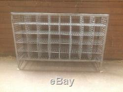 Vintage Large Industrial Metal Wire Pidgeon Hole Retail Display, Storage