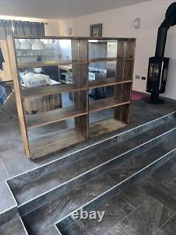 Vintage Large Industrial Style Wooden Wall Shelf With Mirror Back Compartments