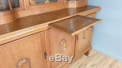 Vintage Light Oak Glazed Chiffonier Library Bookcase Solicitors Cabinet