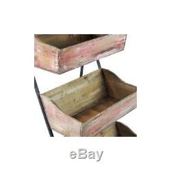 Vintage Wooden Rustic Crate Ladder 4 Tier Display Shelving Unit Home or Retail