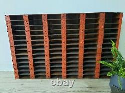Vintage red Industrial garage wall racking shelves shelving salvage pigeon hole