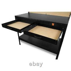 WEN 4 ft. Workbench Work Table with Outlets Light Pegboard Drawers Storage Shelf