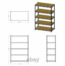 Wide Metal Shelving Unit Garage Steel Storage Rack Heavy Duty Adjustable Shelves