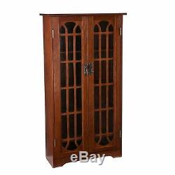Window Storage Bookcase Cabinet Pane Media Oak Wood Furniture Magnetic Doors