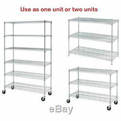 Wire Shelving Heavy Duty Garage Storage Shelves Large Chrome Metal Shelf 6-Tier