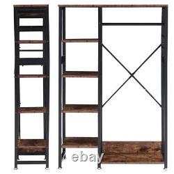 Wood Clothes Rail Hanging Coat Stand Shoe Rack Shelf Storage Wardrobe Organizer