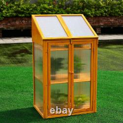Wooden Coldframe Grow House Polycarbonate Greenhouse Outdoor Planter with2 Shelves