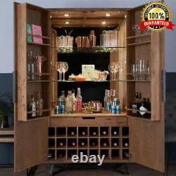 Wooden Industrial Tall Cabinet Wine Glass Bottle Drinks Cupboard Storage Unit