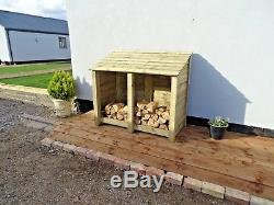 Wooden Log Store 4ft Oak Treated Outdoor Firewood Wood Storage