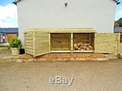 Wooden Log Store 4ft Redwood Treated Outdoor Firewood Wood Storage