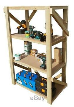Wooden MDF Shelving Garage Unit, 4 Tier EXTRA Heavy-Duty Racking Shelf Storage